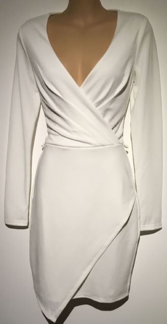 MISS SELFRIDGE IVORY CROSS OVER LONG SLEEVED DRESS SIZES 6, 8, 10, 12 & 14